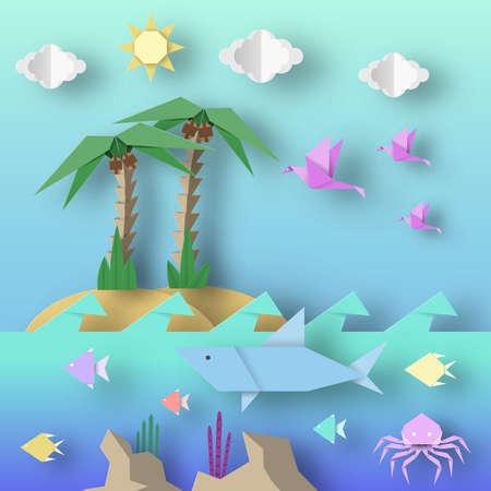 Estilo Origami Hecho de papel con tiburones cortados, palmeras, pájaros, peces, sol y nubes. Escena abstracta vida submarina. Plantilla bajo los elementos de corte de agua, símbolos. Ilustraciones vectoriales de diseño de arte. Ilustración de vector