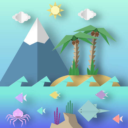 Origami Style Crafted out of Paper with Cut Palm, Mountain, Fish, Sun, Clouds. Abstract Scene Underwater Life. Template Under the Water Cutout Elements, Symbols. Vector Illustrations Art Design.