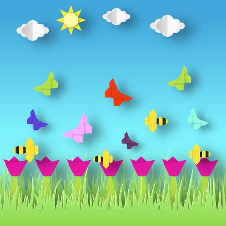 Origami Style Crafted out of Paper with Cut Colorful Flowers, Butterflies. Abstract Scene Flying Insects. Card with Cutout Elements, Symbols. Spring Landscape. Vector Illustrations Art Design.