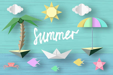 Summer Paper Applique of Symbols, Sign and Objects with Text illustrate the Greeting of the Summertime. Sun Background. Art Template for Banner, Card, Logo, Poster, Label. Design Vector Illustrations. Illustration
