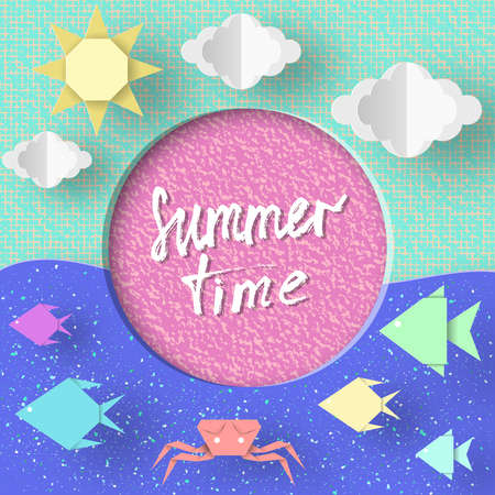 Summer Time Paper Concept Origami Symbols And Objects With Text