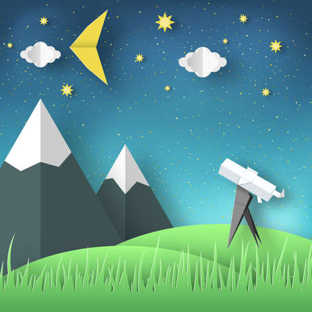 Paper Origami Abstract Concept, Applique Scene with Cut Telescope and Stars. Stock Illustratie