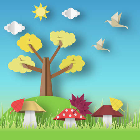 Autumn Origami Landscape with Clouds, Sun, Mushrooms, Leaves, Birds, Trees, Crafted Abstract Paper Concept.