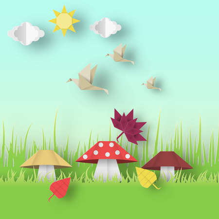 Autumn Origami Landscape with Clouds, Sun, Mushrooms, Leaves, Birds, Crafted Abstract Paper Concept.