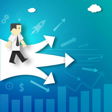 potential: The Businessman Makes the Decision about Choosing the Path Before the Crossroads Paper Origami Crafted Business Concept.