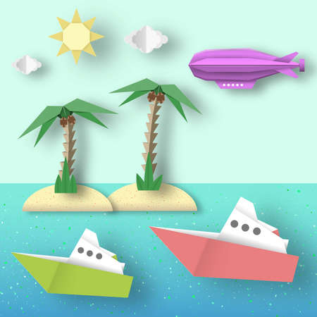Paper Origami Airship Flies over the Sea and the Island.