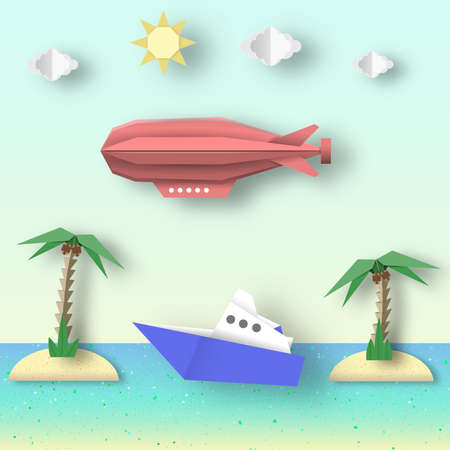 Paper Origami Airship Flies over the Sea and Island. Illustration