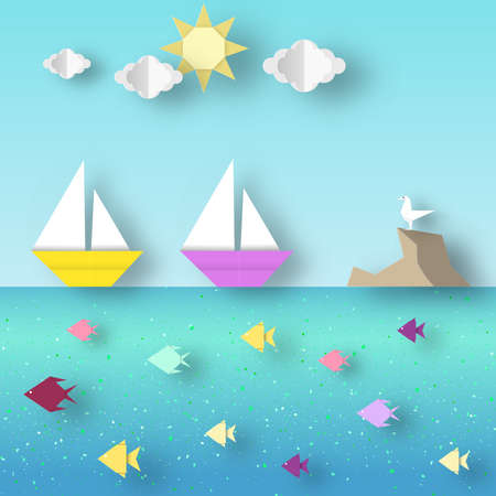 Fashion Papercut Style. Paper Origami Landscape with Ship Sails Past the Reef with a Seagull. Illustration