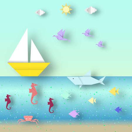 horse fish: Cut Artwork Seascape.