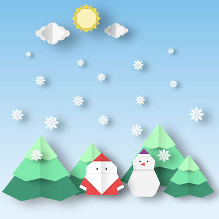 Santa Claus and snowman with Christmas landscape this image is a vector illustration