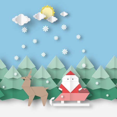 Card with Santa Claus and deer on Christmas landscape this image is a vector illustration Illustration