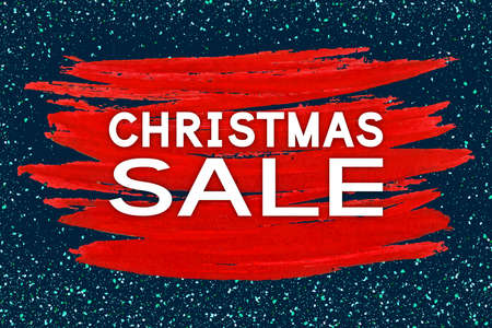Christmas Sale. Holiday discount banner for Xmas season. Vector background with acrylic paint stroke.