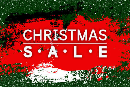 Christmas Sale. Xmas discount banner for winter season. Vector background with paint stroke.