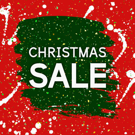 Christmas Sale banner. Fashion Xmas discount coupon for seasonal offer. Vector background with paint stroke.