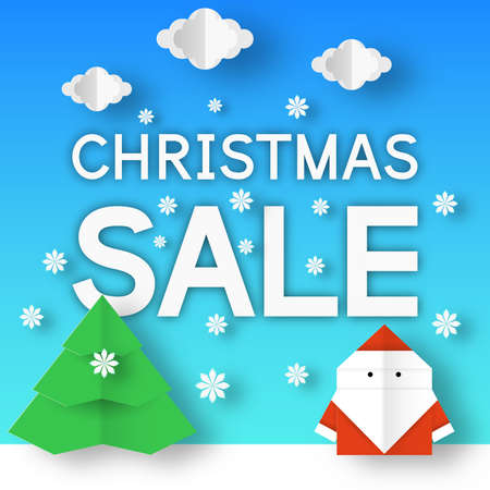 Christmas sale banner. Xmas discount coupon with winter landscape for seasonal offer. Vector paper origami background.