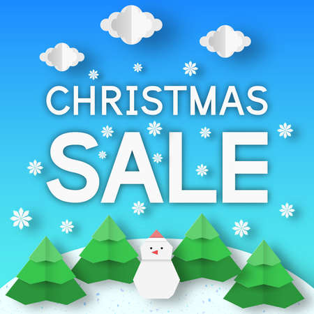 Christmas sale banner. Xmas rebate template with paper landscape for holiday offer. Vector origami background