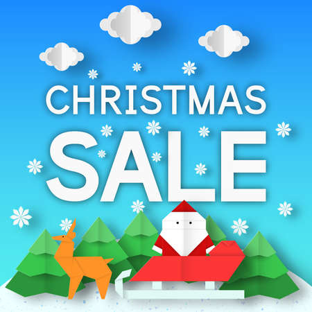 Christmas sale. Fashion Xmas rebate banner with origami landscape for big offer. Vector paper background. Illustration