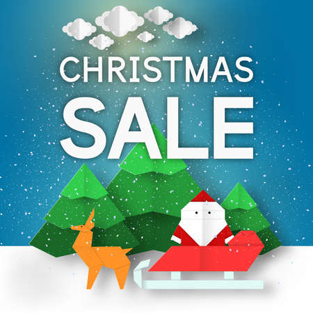 Fashion Christmas Sale background. Modern Xmas discount banner with landscape for big offer. Vector paper origami scene.