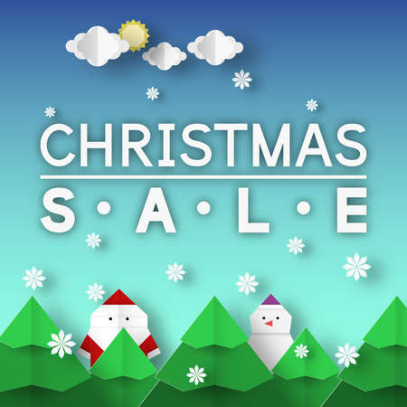 Christmas Sale origami banner. Paper Xmas discount template with landscape for coupon special offer. Vector folded scene.