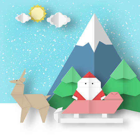 Christmas origami landscape. Holiday folded scene paper Santa Claus and reindeer is coming for Xmas. Vector winter background.