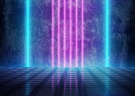 Luci al neon 3D vicino alla parete sporca di lerciume, stanza futuristica di Cyberpunk, fondo astratto con le linee di energia blu e viola, stile interno estetico concettuale di domani, illustrazione di vettore Eps10 - vettore