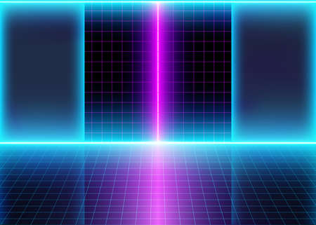 Abstract Futuristic Interior, Room with Neon 3D Glow Lights and Grid Lines, Background with Energy Lines, Conceptual Tomorrow Aesthetic Cyberspace Style, Eps10 Vector Illustration - Vector