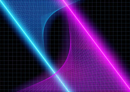 Cyberspace Futuristic Grid Lines with Neon 3D Glow Lights, Abstract Background Tomorrow Aesthetic Digital Style, Space Technology Grids, Eps10 Vector Illustration - Vector 版權商用圖片 - 131610003