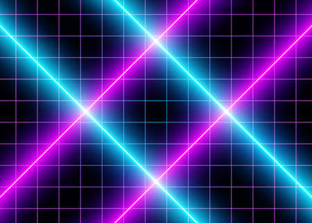 3D Neon Cyberspace Blue and  Violet Lights, Futuristic Abstract Grid Lines, Led  Glow Lines, Futuristic Laser Association. Digital Surface Background. Sci-Fi Style. Eps10 Vector Illustration - Vector Ilustrace