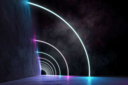 Neon Futuristic Arcs with Fluorescence and Smoke, Grunge Concrete Wall, 3D Rendering Cyber Stock Photo