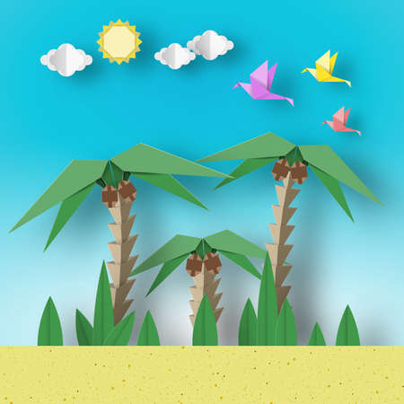 Paper Origami Concept Landscape with Birds, Palm, Sun, Sky. Papercut Style and Cutout Trend. Applique Summer Scene with Elements, Symbols. Vector Illustrations Art Design. 스톡 콘텐츠 - 145280697