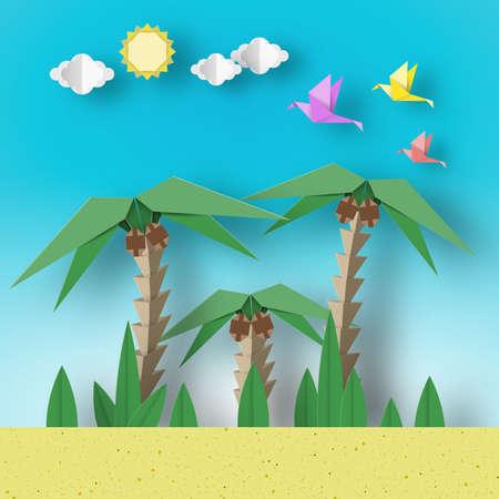 Paper Origami Concept Landscape with Birds, Palm, Sun, Sky. Papercut Style and Cutout Trend. Applique Summer Scene with Elements, Symbols. Vector Illustrations Art Design. 일러스트