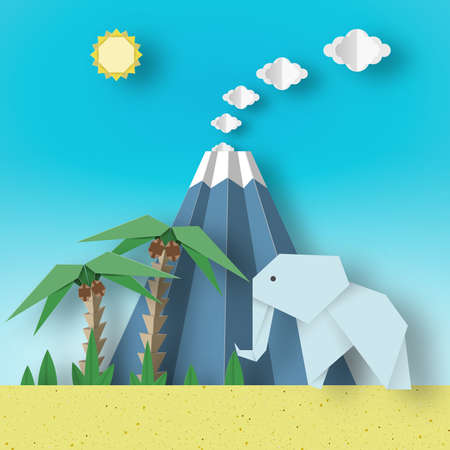 Origami Paper Concept Landscape with Elephants, Palm, Sun, Sky, Volcano. Papercut Applique Style Cutout Fashion Trend. Summer Tropical Scene with Elements, Symbols. Vector Illustrations Art Design Иллюстрация