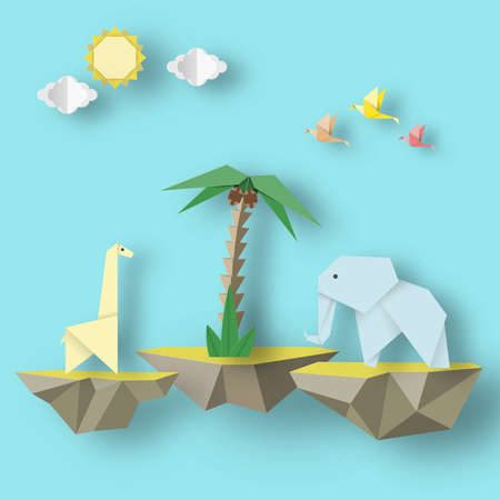 Paper Origami Abstract Concept, Applique Scene with Cut Birds, Elephant, Giraffe and Levitate Island. Artwork Crafted. Cutout Template with Elements, Symbols for Card. Vector Illustrations Art Design. Vectores
