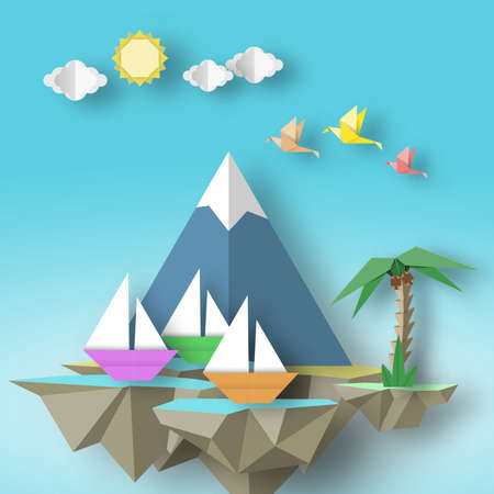 Paper Origami Abstract Concept, Applique Scene with Cut Birds, Yacht, Mountain, Palm and Fly Island. Artistic Artwork. Cutout Template with Elements, Symbols for Card. Vector Illustrations Art Design.  イラスト・ベクター素材