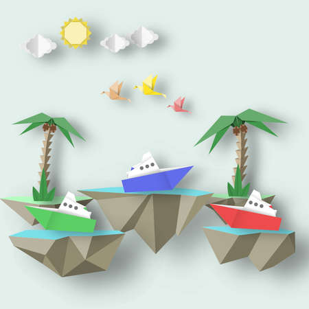Paper Origami Abstract Concept, Applique Scene with Cut Birds, Steamship, Palm and 3D Fly Island. Beautiful Artwork. Cutout Template with Elements, Symbols for Card. Vector Illustrations Art Design.