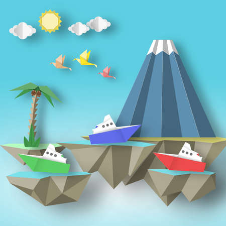 Paper Origami Abstract Concept, Applique Scene with Cut Birds, Steamship, Mountain and 3D Fly Island. Fantasy Artwork. CutOut Template with Elements, Symbols for Card. Vector Illustration Art Paper Design.