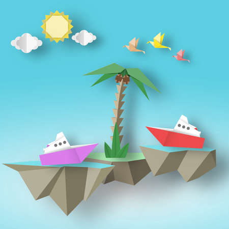 Origami Art Paper Abstract Concept, Applique Scene with Cut Birds, Steamship, Palm and 3D Fly Island. Cute Artwork. Cutout Template with Elements, Symbols for Card. Vector Illustrations Art Design.