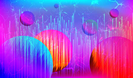 Retro Futuristic Cyberpunk Art Background with Abstract Planet, Technology 80s Cyber Style, Retrowave Bright  Banner, Retro wave Neon Space with Cyber Punk Aesthetics, Vector Illustration Art Design