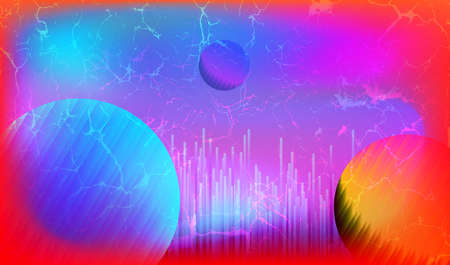 Blurred Synthwave Technology Background with Abstract Circle Planets, Retro Futuristic 80s SciFi Style, Cyberpunk Banner, Retro wave Elements with Cyber Punk Aesthetics, Vector Illustration Art Design