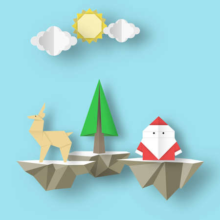 Paper Origami Christmas nature scene with cutout Santa Claus, deer and tree on polygonal soaring islands. Crafted abstract Xmas concept cut fragments for templates. Vector Illustrations Art Design. Vettoriali