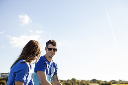 sweden resting: Happy man with girlfriend against sky