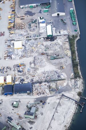 reprocessing: Aerial view of recycling factory