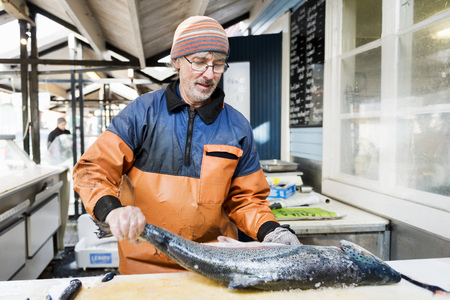 Mature man in protective workwear cleaning large fish in fishing industry LANG_EVOIMAGES