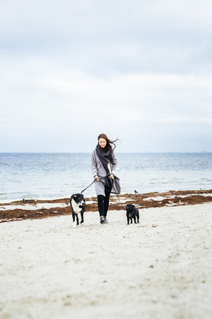 Full length of woman walking with dogs on beach LANG_EVOIMAGES