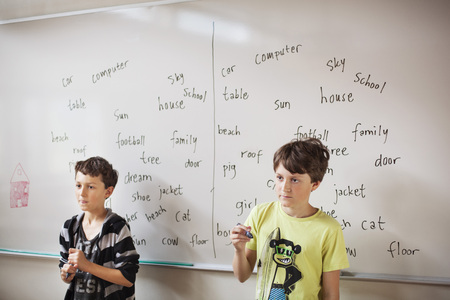 instructs: Two schoolboys standing against whiteboard in classroom LANG_EVOIMAGES