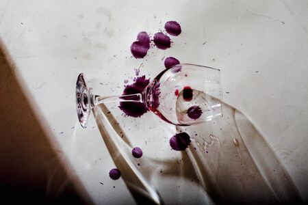 dirtied: Stained empty wine glass