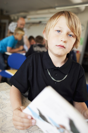 classbook: Boy reading in classroom LANG_EVOIMAGES