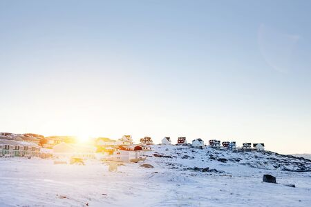 nuuk: Snowy landscape with residential buildings LANG_EVOIMAGES