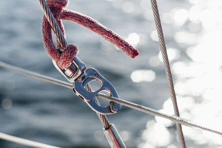 Rope and carabiner on boat