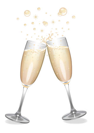 Vector champagne flutes clinking together with bubbles.